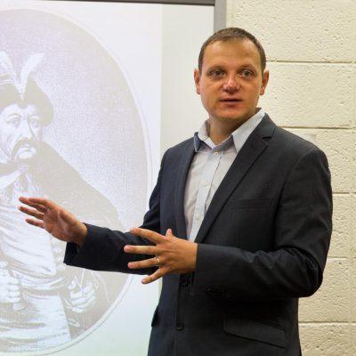 UW-Platteville assistant professor Andrey Ivanov presents a powerpoint