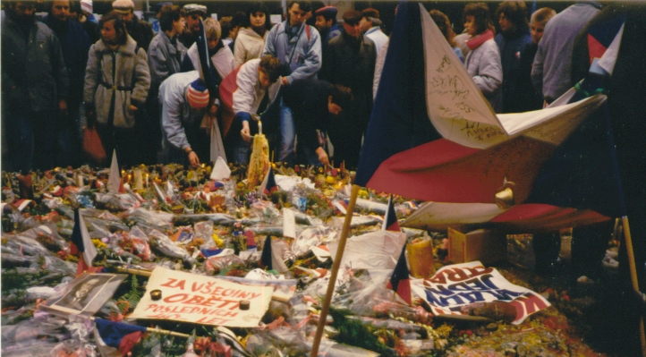 Flowers and candles on Wenceslas Square, Prague November 1989