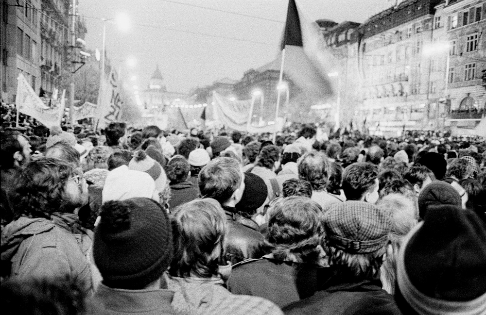 Crowd of protesters in Prague, 1989.