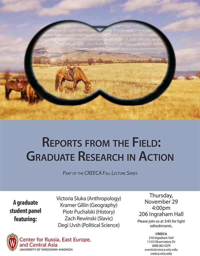 Poster featuring binocular view of fields, mountains, horse, and text.