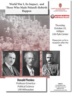Poster for Pienkos event with 20th century Polish national heroes with soldiers in background